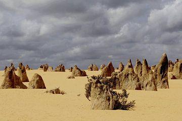 Donkere lucht boven rotsformaties, Pinnacles desert van Inge Hogenbijl