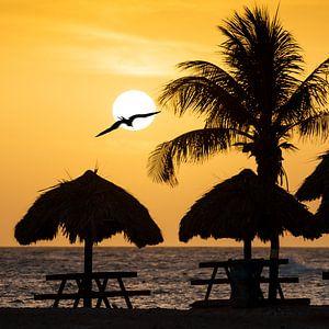 Sunset op Curacao van Keesnan Dogger Fotografie