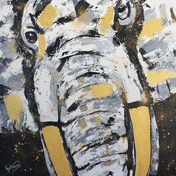 Olifantengezicht door Kathleen Artist van Kathleen Artist Fine Art