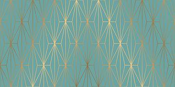 ELEGANT BLUE GOLD PATTERN van Pia Schneider