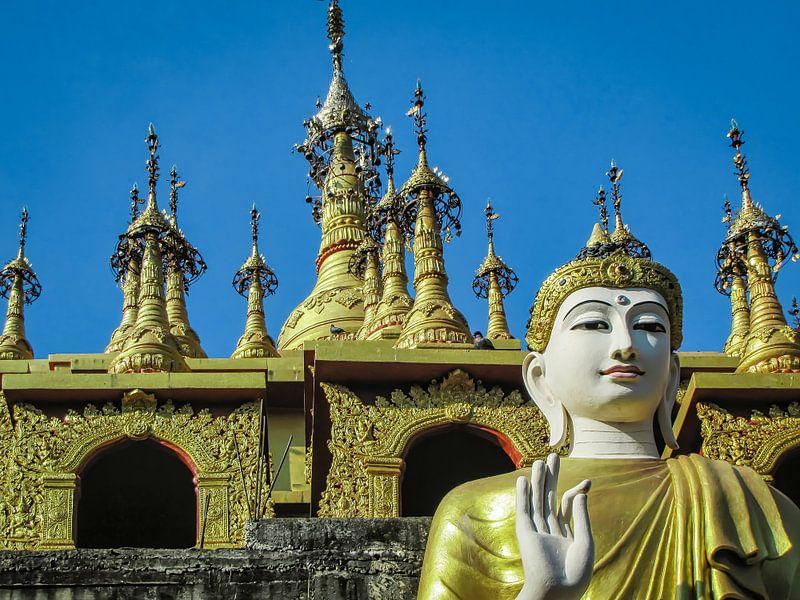 Boeddha met Vitarka mudra (handgebaar) voor de tempel, Thailand van Rietje Bulthuis