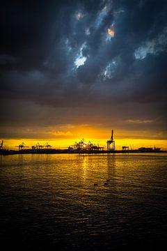 Haven zonsondergang van Peet de Rouw