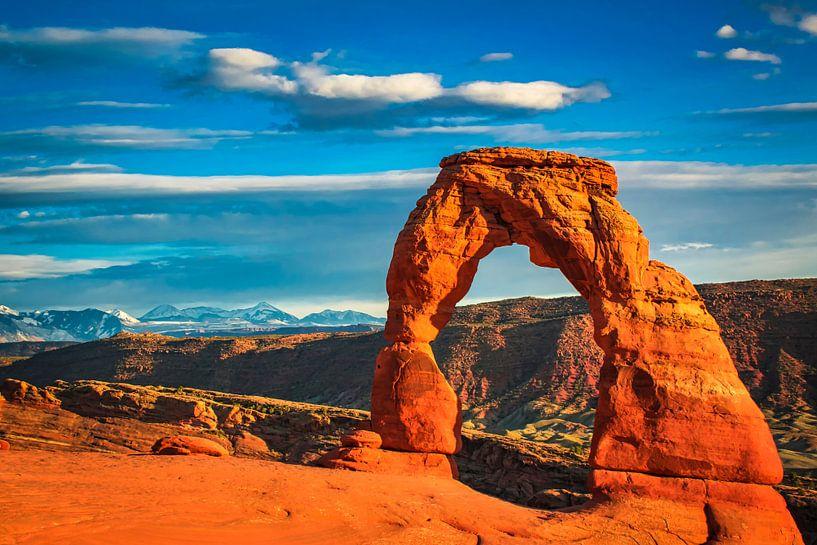 Laat zonlicht op Delicate Arch, Utah van Rietje Bulthuis