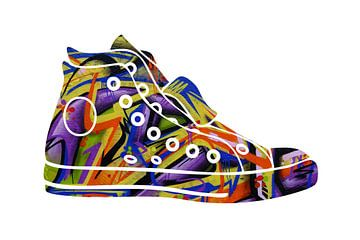 Chaussure de graffiti sur Harry Hadders