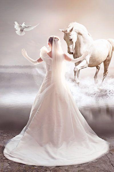 Bruid met haar witte paard