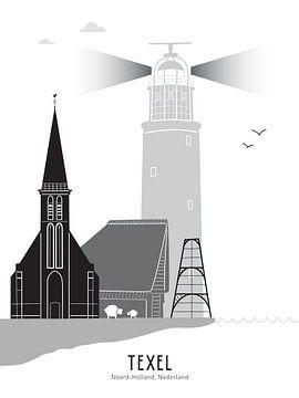Skyline illustratie waddeneiland Texel zwart-wit-grijs van Mevrouw Emmer