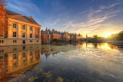 Mauritshuis, Binnenhof en Hofvijver tijdens zonsondergang van