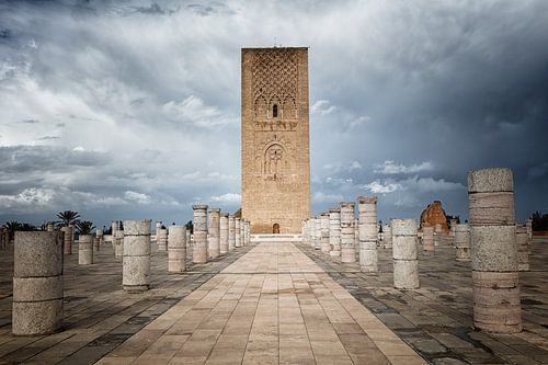 De Hassan Toren, de minaret van de incomplete moskee in Rabat in Marokko
