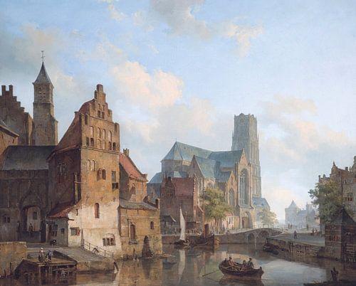 Schilderij Rotterdam - Zicht op Delfste Vaart en de Sint-Laurenskerk te Rotterdam - Cornelis Springe