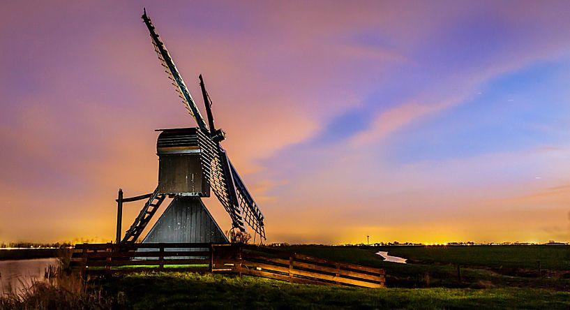 Spinnekop molen bij nacht van Jaap Terpstra