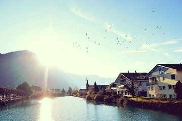 Schönes Sonnenlicht im See in der Schweiz von Carolina Reina
