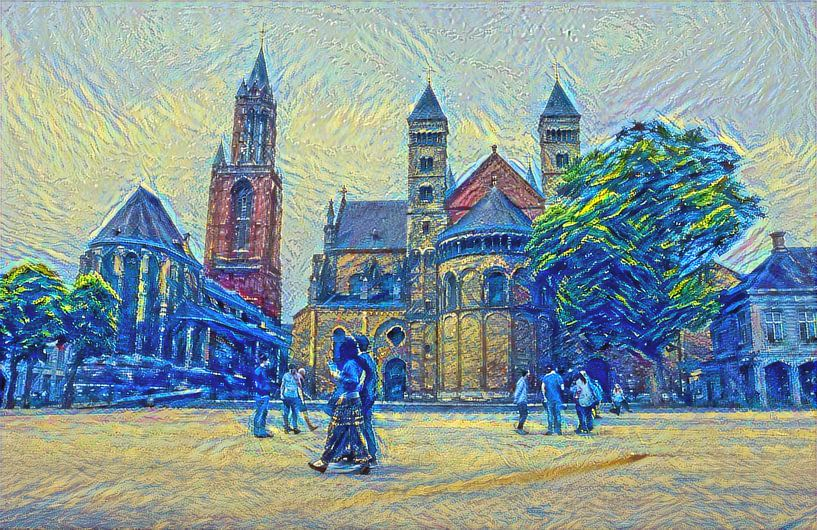 De kerkentweeling op het Vrijthof van Maastricht in de stijl van Van Gogh: Sint Servaasbasiliek en S van Slimme Kunst.nl
