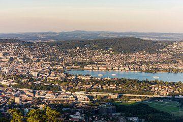 Uitzicht van Uetliberg naar Zürich en het meer van Zürich van Werner Dieterich