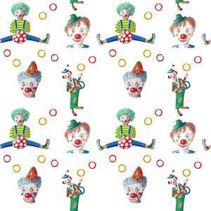 Doorlopend patroon vrolijke clowns van Ivonne Wierink