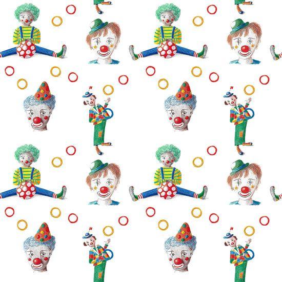 Doorlopend patroon vrolijke clowns