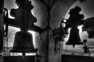 Clocks in Clock Tower of University of Coimbra, Coimbra, Portugal, Europe I Glocken im Glockenturm d