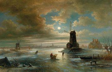 Maanverlichte nacht in de winter buiten Amsterdam, 1883 van Atelier Liesjes