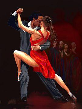 Dancing couple, dance painting sur Natasja Tollenaar