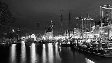 Der Hafen von Hoorn in Schwarz-Weiß