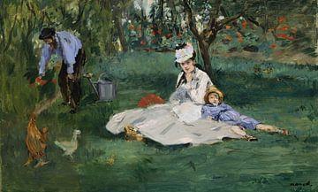 De familie Monet in hun tuin bij Argenteuil, Édouard Manet van