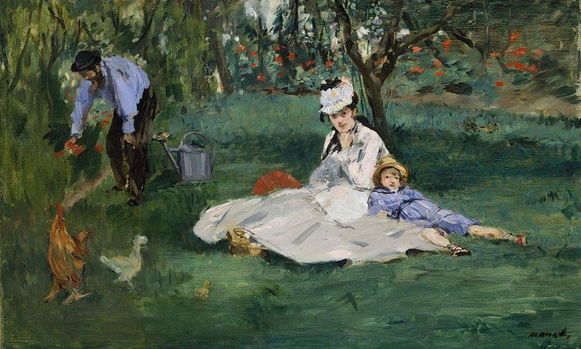 Die Familie Monet in ihrem Garten in Argenteuil, Édouard Manet von Meesterlijcke Meesters