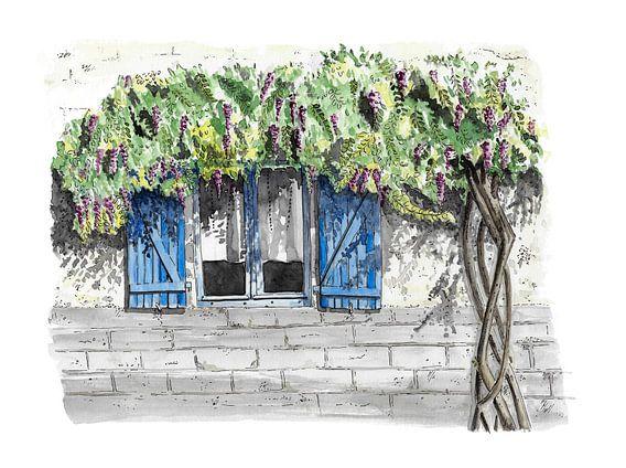 Romantisch Frans raam in aquarel en inkt