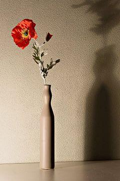 rode bloem in vaas