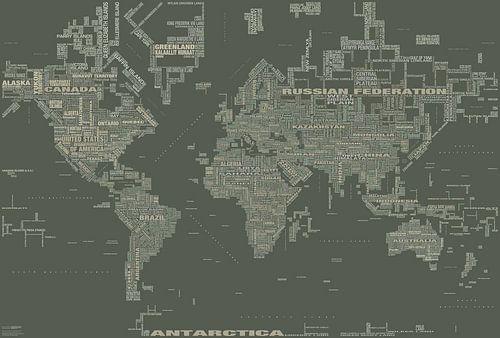 Wereldkaart Typografie, Kaki van