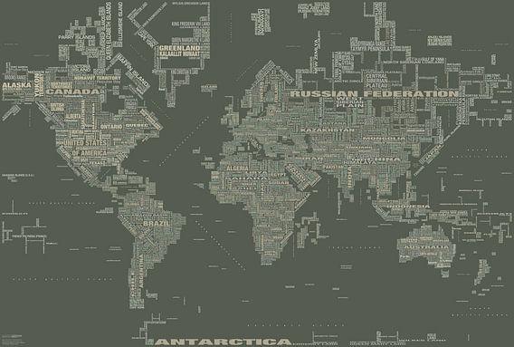 Wereldkaart Typografie, Kaki van MAPOM Geoatlas