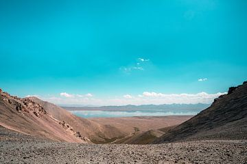 Droge hoogvlakte met meer in de bergen. van Mickéle Godderis