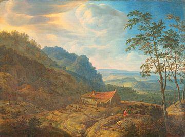 Berglandschaft mit Bauernhof, Herman Saftleven