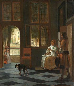 Die Überreichung eines Briefes auf eienr Veranda, Pieter de Hooch