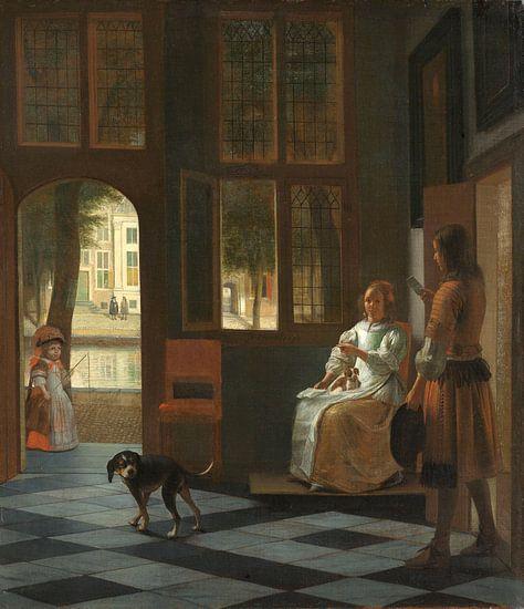 Het aanreiken van een brief in een voorhuis, Pieter de Hooch