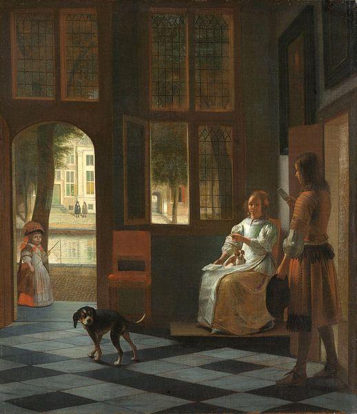 Die Überreichung eines Briefes auf eienr Veranda, Pieter de Hooch von Meesterlijcke Meesters