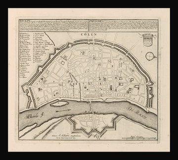 Oude kaart van Keulen van omstreeks 1720 van Gert Hilbink
