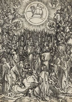 ALBERT DÜRER, Apokalypse, 12. Figur - Hymnus der Auserwählten im Himmel - Anbetung des Lammes, 1496
