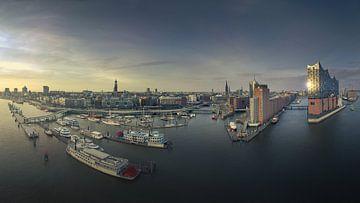 De skyline van Hamburg bij een prachtige zonsondergang van Jonas Weinitschke