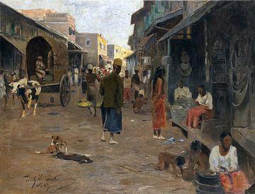 Straatbeeld in Ceylon (Sri Lanka), WILHELM KUHNERT, 1907 van Atelier Liesjes