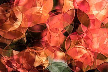 nature morte de roses couleur corail, abstrait sur Marjolijn van den Berg