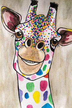 Giraffe Abstrakte Aquarelle in verschiedenen Farben von Art By Dominic