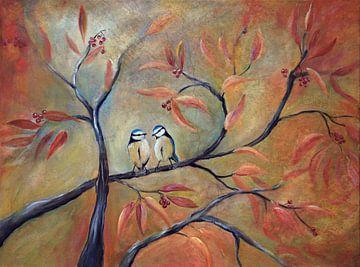 Blaue Titten auf einem Herbstzweig... von Els Fonteine
