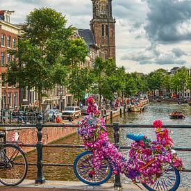 Prachtig uitzicht op de Westertoren op een mooie zomerse dag in 2020  summer day in Amsterdam, w van Ardi Mulder