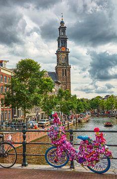 Prachtig uitzicht op de Westertoren op een mooie zomerse dag in 2020  summer day in Amsterdam, w von Ardi Mulder