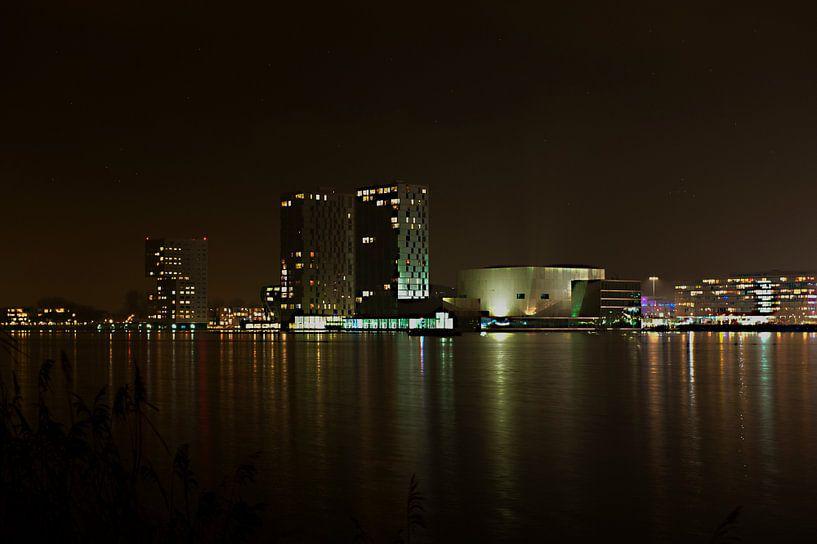 Almere Skyline bij Nacht van Brian Morgan