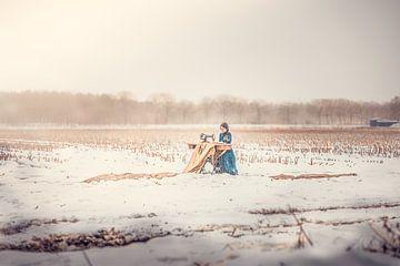 sneeuwlandschap met een tintje goud van Elke De Proost