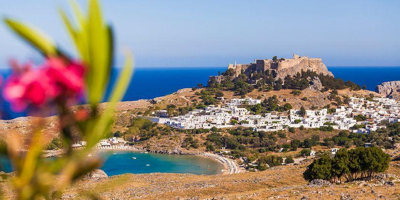 Lindo's op het eiland Rhodos in Griekenland van Werner Dieterich