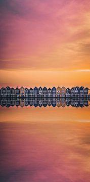 maisons en bois reflet coucher de soleil pastel sur vedar cvetanovic