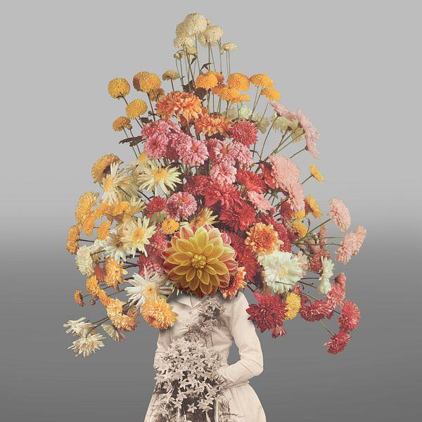 Zelfportret met bloemen 1 (grijze achtergrond) van toon joosen