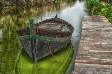 Oude schuit, oude houten boot van Iris Heuer