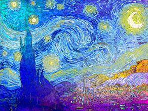 Sterrennacht (Starry Night) Vincent van Gogh Abstract Kleurrijk van Art By Dominic